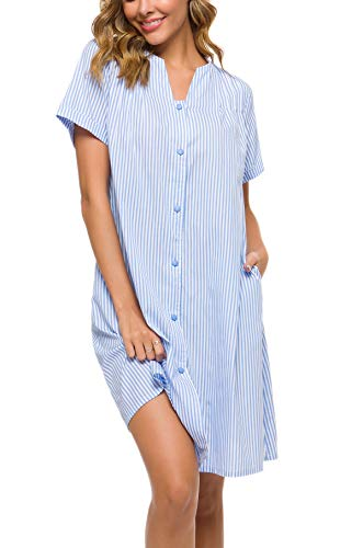 - YOZLY Duster Womens Cotton Button Down House Robe Short Sleeve Nightgown with Pockets (Light Blue, L)