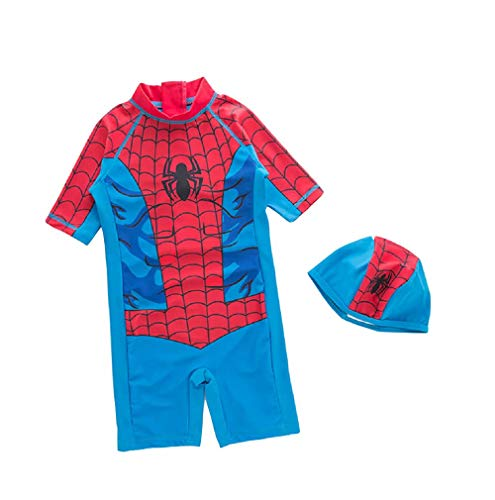 Happy angel Boys Spiderman Swimsuit Kids Boys One Piece Swimsuits Short Sleeve Guard Shirt Suits Beach Wear(Spiderman,110cm)