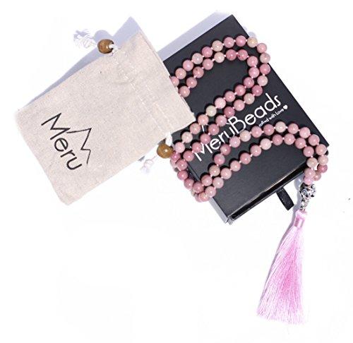 Premium Rhodonite Mala Beads Necklace - Buddhist Prayer Beads for Meditation - Mala Bracelet - Yoga Jewelry - Mala Necklace - Meditation Beads - 108 Mala Beads - Rhodonite Necklace - Tassel Necklace
