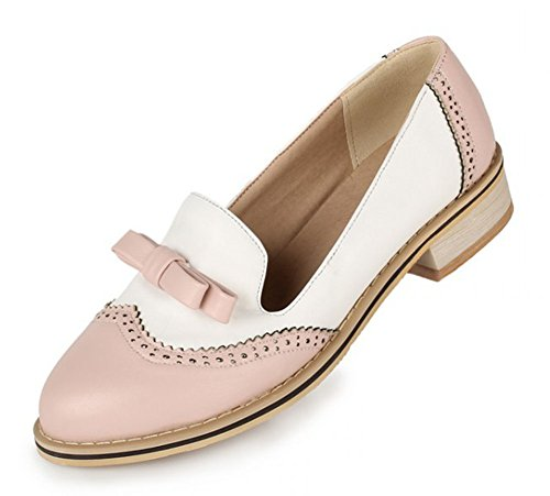 Aisun Womens Cute Comfy Round Toe Low Cut Dress Slip On Oxfords Low Heels Loafers Flats Pumps Shoes With Bows Pink kmIYv