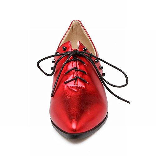 Charme Voet Dames Mode Veters Spitse Neus Lage Hak Oxford Schoenen Rood