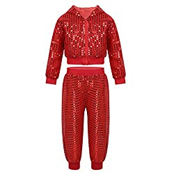 Red Sequined Long Sleeves Hooded Top with Pants Set