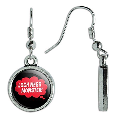 Novelty Dangling Drop Charm Earrings Dreaming Of F-P - Loch Ness Monster Red