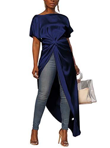 Women's Boat Neck Short Bat Sleeve Tie Knot Ruched Waist Asymmetrical High Split Dip Hem Tops Blouse Shirt Dress Blue M