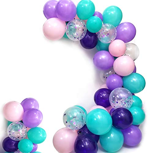 Mermaid Balloons Pack of 100,Purple Pink Turquoise Latex Balloons with Confetti Balloon for Mermaid Party Decorations Birthday Party Supplies -