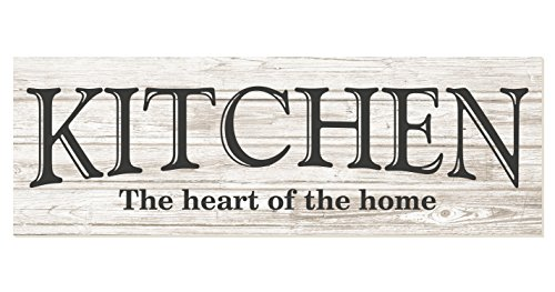 Kitchen The Heart of The Home Rustic Wood Wall Sign 6x18 (White)