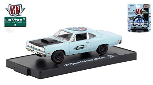 M2 Machines 1969 Plymouth Road Runner 440 (Mr. Gasket Co Auto-Drivers Release 55 - Castline 2019 Special Edition 1:64 Scale Die-Cast Vehicle & Custom Display Base (R55 18-33)