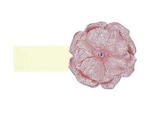 Jamie Rae Hats Cream Soft Headband with Sequins Pale Pink Rose, Size: 12m+