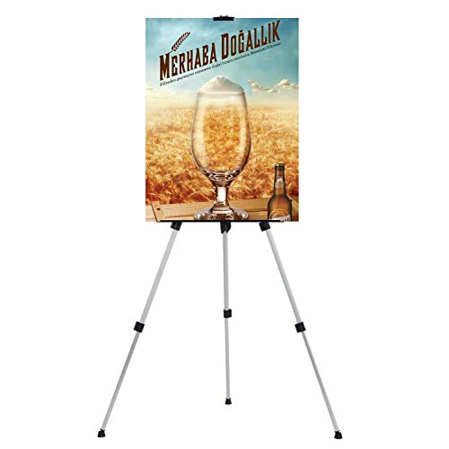 """T-Sign 66"""" Reinforced Artist Easel Stand, Extra Thick Aluminum Metal Tripod Display Easel 21"""" to 66"""" Adjustable Height with Portable Bag for Floor/Table-Top Drawing and Displaying"""