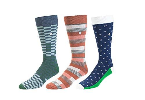 Men's Crew Dress Socks – Simple Classics – Versatile And Unique - 3 Pack (Green Checker, Peach Stripe, Navy T Pattern)