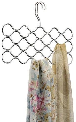 mDesign Wave Scarf Hanger, No Snag Storage for Scarves, Ties, Belts, Shawls, Pashminas, Accessories - 23 Loops, Chrome