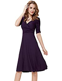 Ever Pretty 3/4 Sleeve Ruched Waist Classy V-Neck Casual...