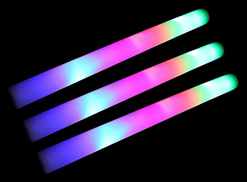 AJ Toys & Games 100 PCS Pack of 18 Multi Color Foam Baton LED Light Sticks - Multicolor Color Changing Rally Foam 3 Model Flashing