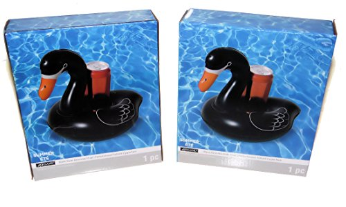 Ashland Large Black Swan Floating Inflatable Drink Can Holder Swimming Pool, Beach, Lake, 2 Pack by Ashland