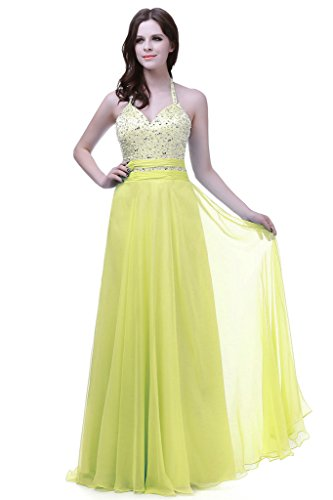 Vantexi Women's Halter Long Silk Chiffon Bridesmaid Prom Dress Yellow 28