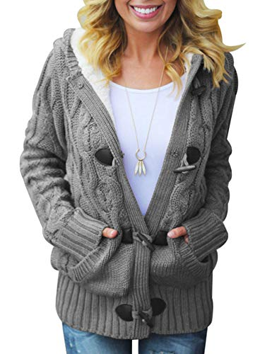 CILKOO Womens Fashion Oversized Cozy Hooded Cardigans Button Open Front Long Sleeve Cable Knit Sweater Fleece Coat Outwear with Pockets Grey US12-14 Large (Front Fur Button Jacket)