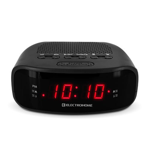 electrohome digital am fm clock radio w battery backup dual alarm snooze black. Black Bedroom Furniture Sets. Home Design Ideas