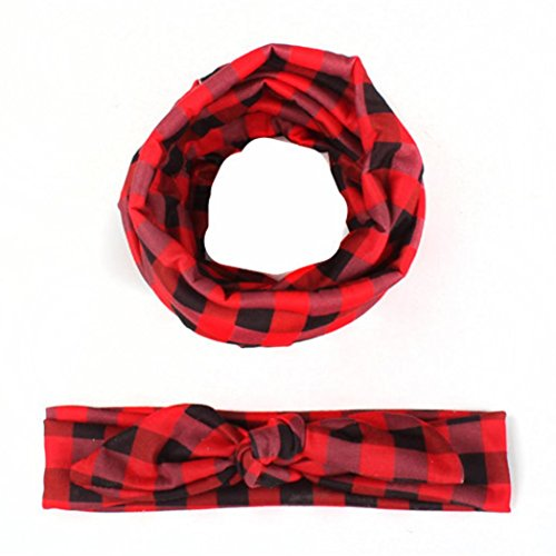 Hunputa 1Set Toddler Kids Girls Plaid Scarf + Bowknot Cute Elastic Cloth (Plaid Wide Headband)