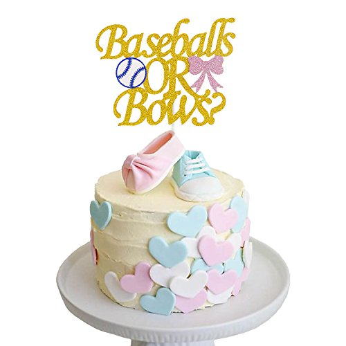Gender Reveal Cake Topper Baseballs or Bows Cake Topper for Boy or Girl Baby Shower Party -