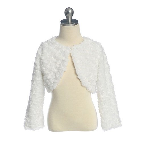 Sweet Kids Girls White Swirl Faux Fur Shrug Bolero Jacket 8