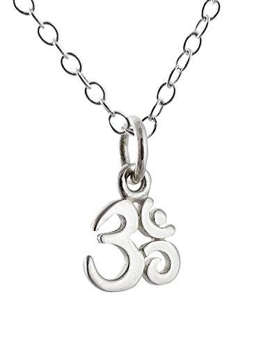 Sterling Silver Tiny Om Symbol Ohm Pendant Necklace, 18