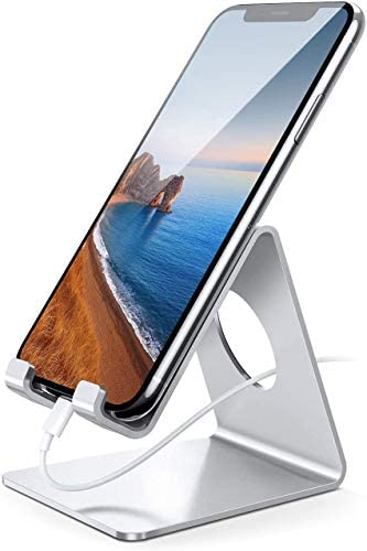 Lamicall Cellular Telephone Stand, Table Telephone Holder Cradle, Suitable with Telephone 12 Mini 11 Professional Xs Max XR X 8 7 6 Plus SE, All Smartphones Charging Dock, Place of job Desktop Equipment – Silver
