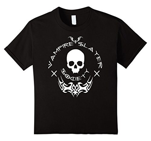 Kids Vampire Slayer Society - Halloween Vamp Hunter Shirt w/font 8 (Slayer Classic Costumes)