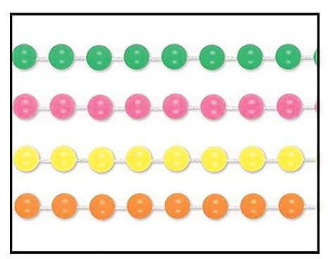 Green//Pink//Yellow//Orange Beistle 53524 Neon Plastic Beaded Necklaces 24 Piece 90s Party Supplies Mardi Gras Favors 33