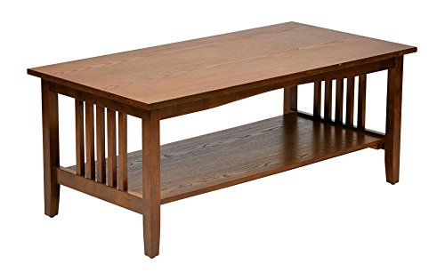 Office Star Sierra Solid Wood Coffee Table, Ash Finish