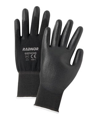Radnor Medium Black Economy Polyurethane Palm Coated Gloves With Seamless 13 Gauge Nylon Knit Liner (12 PR )