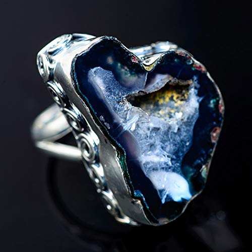 (Large Coconut Geode Druzy 925 Sterling Silver Ring Size 8.25 (925 Sterling Silver) - Handmade Boho Vintage Jewelry RING941832)