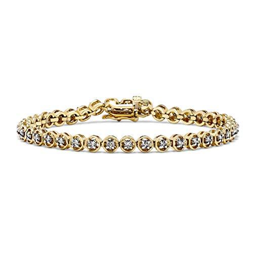 1.50 Carat Diamond Circle Tennis Bracelet in 10k Yellow Gold