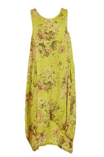 (Ladies Womens Italian Lagenlook Floral Print Sleeveless 2 Pocket Linen Tulip Midi Dress One Size (Yellow, One Size))
