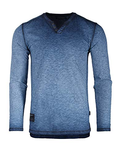 ZIMEGO Dream Supply Mens Long Sleeve V-Neck Henley Oil Wash Contrast Seam Vintage Shirt -