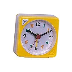Homyl No Ticking Small Alarm Clock, Gradient Sound, Travel Bedside Desk Study, Snooze & Nightlight - Yellow