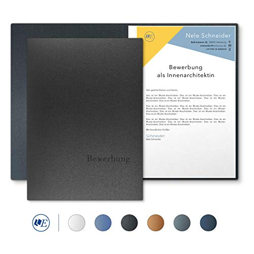- '5x 2-Part Job Applications Folders ESCLUSIVA Classic in grey with 1 Spine Bar/1 A-Premium Quality with Flat