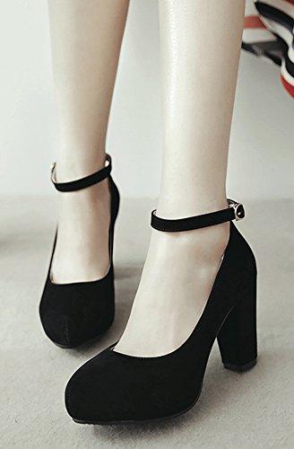 Aisun Donna Comode Semplice Tallone Alto Blocco Elegante Con Fibbia Scarpe A Punta Tonda Scarpe Con Cinturino Alla Caviglia Nero