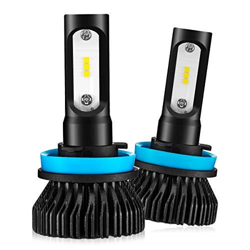 Marsauto H11 H8 H9 Led Headlight Bulbs,M1 Series H16 Low Beam/Fog Light Fanless CSP Chips 6000K Xenon White 2-Pack
