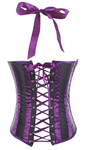 Kranchungel Women's Cupless Halter Striped Lace up Boned Underbust Corset Corsetto Bustino Morado