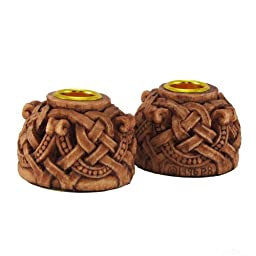 Celtic Knotwork Candleholders Pair Wood Finish