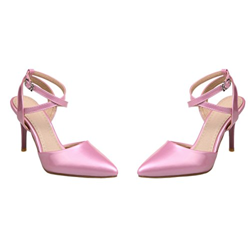 Women's Pointed AIYOUMEI Shoes Heels Strap High Ankle Toe Stiletto Pink Sandals OdH6xwgp