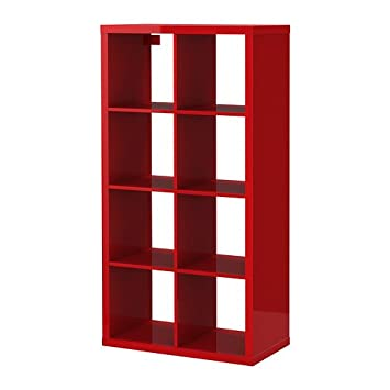 Ikea Kallax Shelving Unit High Gloss Red 77x147 Cm