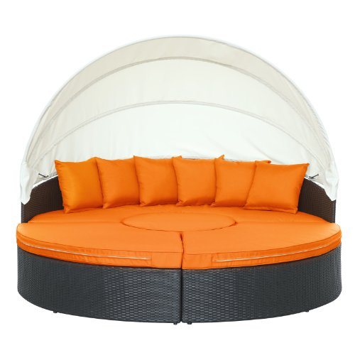 Lovely Modway Quest Circular Outdoor Wicker Rattan Patio Daybed With Canopy In  Espresso Orange