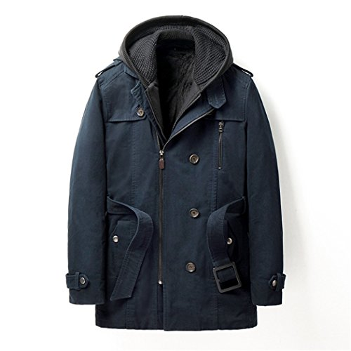 Europe coats casual warm L cotton winter men's with wear the cap padded and blue Deep HHY qdCFq