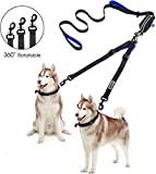 2 Dog Leash with Pouch Bag, No Tangle Adjustable Double Dog Leash up to 180lbs, Reflective Stitching Training Walking Running Leash Splitter with Dual Padded Handle for Small Medium Large Dog