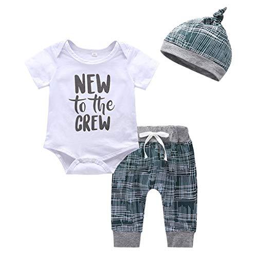 Newborn Infant Baby Boy 3PCS Outfits Short Sleeve Letter Print Romper Top+Drawstring Pants+Hat Set Summer Clothes (White, 0-3 Months)