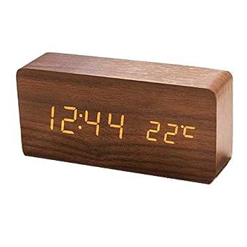Queta LED Reloj Despertador de Madera Reloj Despertador Digital Reloj de Mesa Fecha Temperatura Visualización 12/24 Horas: Amazon.es: Electrónica