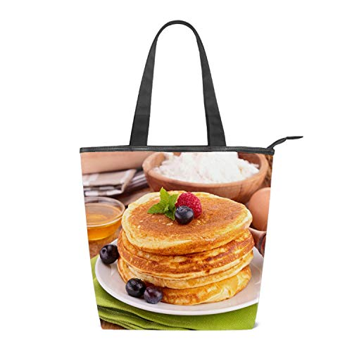 - Pancakes Raspberry Honey Printing Canvas Shoulder Bag Retro Casual Handbags Messenger Bags