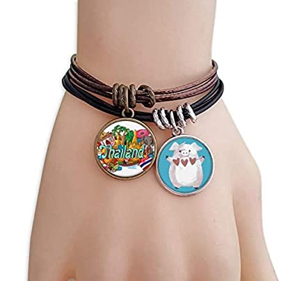 master DIY The Grand Palace Elephant Thailand Graffiti Bracelet Rope Wristband Pig Heart Love Set Estimated Price -