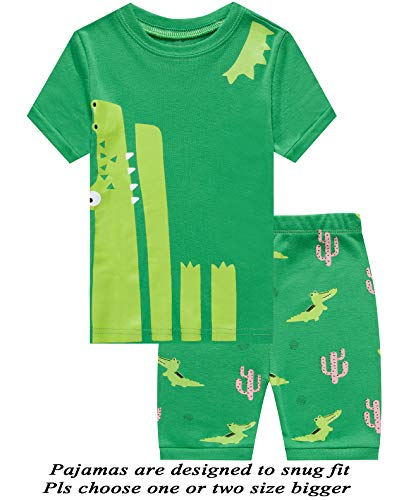 Boys Pajamas 100% Cotton Crocodile Short Kids Snug Fit Pjs Summer Toddler Sleepwear 3T